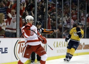 Tomas Tatar celebrates a goal. (courtesy of sportsoverdose.com)